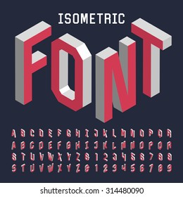 3d isometric alphabet font. Letters, numbers and symbols. Three-Dimensional stock vector typography for headlines, posters etc.