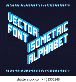 3D isometric alphabet font. Letters and numbers. Three-Dimensional stock vector typeset for your design.
