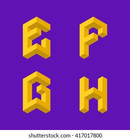 "3d isometric alphabet. Letters ""E,F,G,H"""