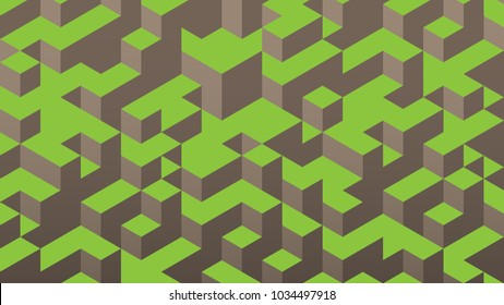3d isometric background. Cube landscape. Hills