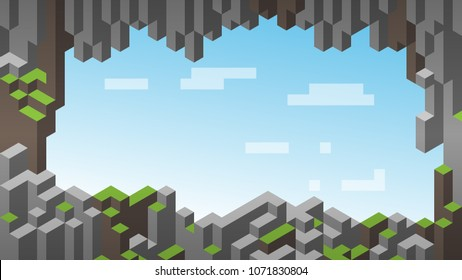 3d isometric background. Cube landscape. Hills. Landscape frame. Cave entrance.