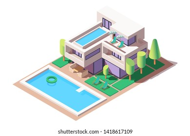 3d isometric big house with modern design and pool. Concept isolated expensive building with tree, water and relax zone. Low poly. Vector illustration.