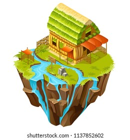 3d isometric building on the island for computer games. Straw cottage with wicker fence and landscape design. Vector cartoon illustration.