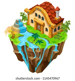 3d isometric building on the island for computer games. Сottage and elements landscape design. Isolated vector cartoon illustration.
