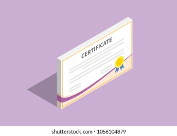 3d isometric certificate flat with violet background vector graphic illustration