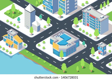 3d isometric city building with hotel, shop, river and natural tree. Concept modern urban street with house near water and road. Low poly. Vector illustration.