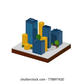 3d Isometric city icon. skyscraper model. with money icon. Financial success concept.   business buildings. real estate icon. Set of buildings. modern town concept. high-rise building. Urban space
