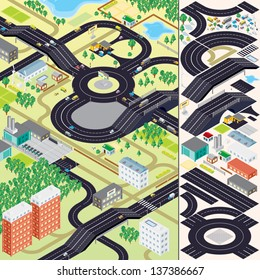 3D Isometric City Map Kit. Vector Set include: Buildings, Vegetations, Cars, Roads and other Urban Objects and Elements. Easy to Create Your Own Small Township, Village or Country.