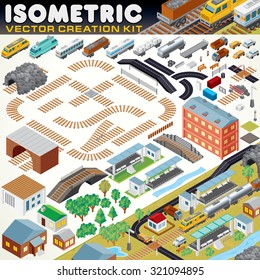 3D Isometric City Map Kit. Vector Set Include: Railroad Objects, Buildings, Plants, Cars, Road Paths and other Urban Items and Elements. Create Your Own Railroad Scheme or Town Map