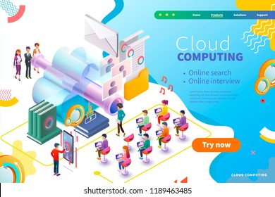 3d isometric cloud computing webpage design, business interview and human resource management