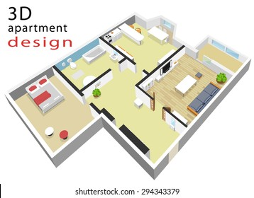 3d isometric colorful floor plan for apartment. Modern graphic interior design with furniture. Isolated vector illustration.
