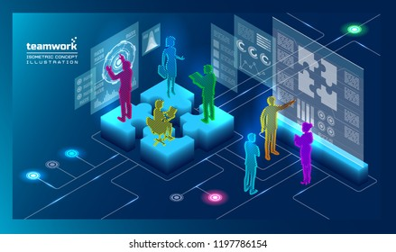 3d isometric concept illustration with people in glitch style
