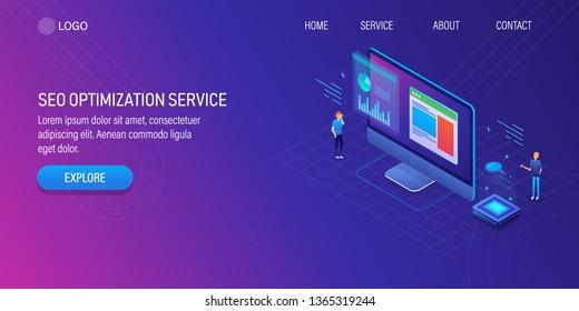 3D, Isometric concept of SEO optimization service, Digital marketing agency, SEO optimization company, vector banner