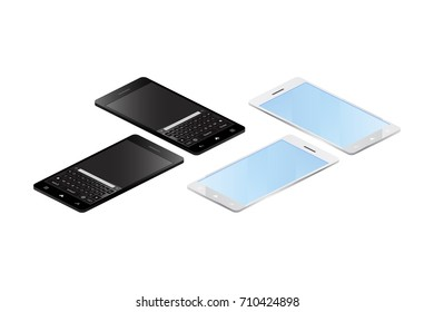 3D isometric concept. Smart phones on a white background. Vector illustration EPS 10