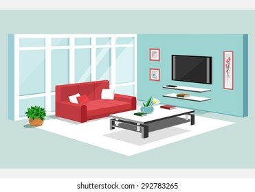3d isometric design of apartment. Modern graphic living room interior with furniture: sofa, TV-set, table, flowerpot, shelves.