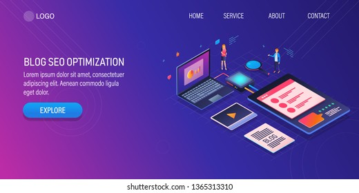 3D, isometric design of Blog SEO optimization, Blog SEO marketing, vector illustration banner with icons and texts
