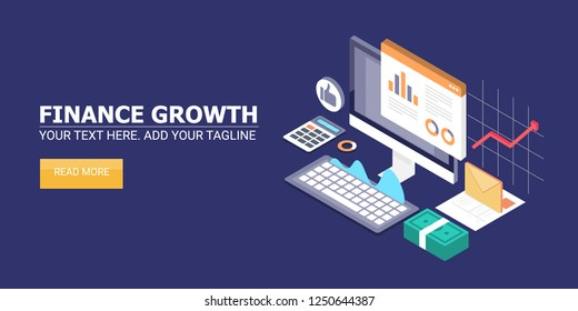 3D, isometric design, Financial growth, growing money market, business, investment flat vector banner