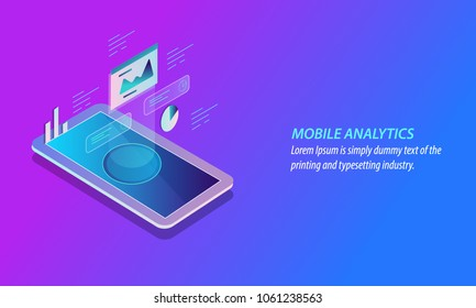 3D isometric design of Mobile analytics, Mobile Data monitoring, Marketing analysis vector banner with icons