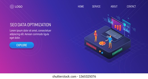 3D, Isometric design of SEO data optimization, SEO analysis by expert, Search analytics, vector banner