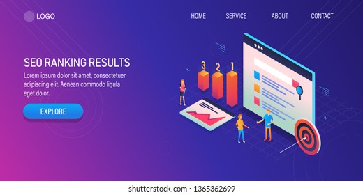 3D, Isometric design of SEO ranking, SEO marketing company,  SEO result optimization, landing page vector template
