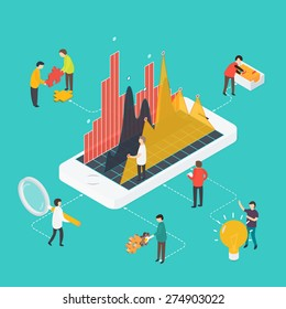 3d isometric design vector illustration marketing concept with infographic, teamwork, research.