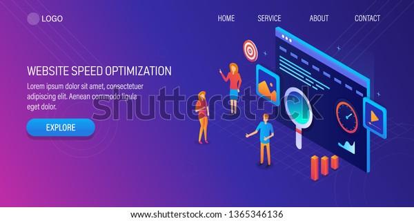 3d Isometric Design Website Speed Optimization Stock Vector (Royalty