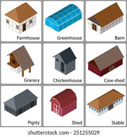 3D Isometric Farm Buildings Icons, Colored Version, Vector Illustration