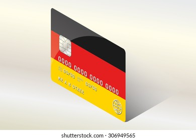 A 3D Isometric Flag Illustration of the country of  Germany