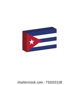 3D isometric flag Illustration of Cuba country