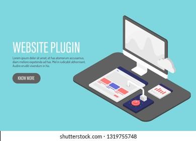 3D, Isometric flat concept of Website plugin, digital marketing, website analysis vector illustration