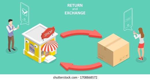 3D Isometric Flat Vector Concept of Product Exchange and Return Policy, Purchase Refunding.