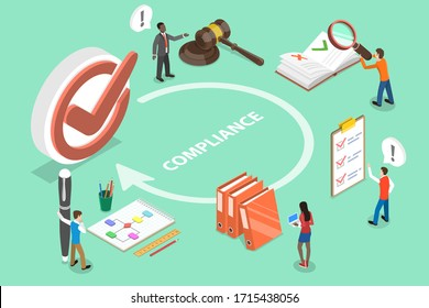 3D Isometric Flat Vector Concept of Regulatory Compliance, Business People Are Discussing Steps to Comply With Relevant Laws, Policies, and Regulations.