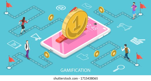 3D Isometric Flat Vector Concept of Interactive Content For Audience Engaging, Mobile App Gamification, Encouraging Customers to Earn Rewards.