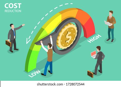 3D Isometric Flat Vector Concept of Cost Reduction, Dollar Rate Decrease, Price Minimising, Falling Rate of Profit.