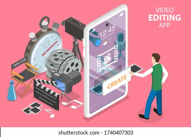 3D Isometric Flat Vector Concept of Mobile Video Editing App, Motion Design Studio Software, Multimedia Production, Video Blogging.