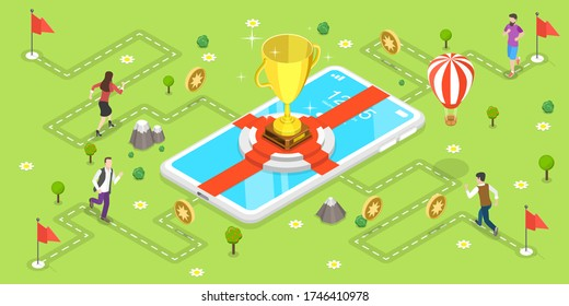 3D Isometric Flat Vector Concept of Mobile Gaming, Gamification Marketing Campaign, Interactive Content, Customer Engagement.