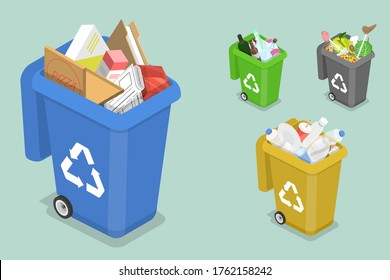 3D Isometric Flat Vector Concept of Sorting Waste for Recycling, Colored Waste Bins With Trash, Different Types of Garbage: Organic, Plastic, Paper, Glass.