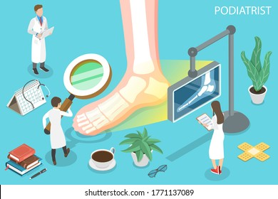 3D Isometric Flat Vector Concept of Podiatrist, Podiatric Physician Doctor, Treatment of Disorders of the Foot, Ankle, and Lower Extremity.