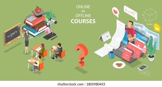 3D Isometric Flat Vector Concept of Online Courses vs Offline Courses, Pros and Cons of Regular Classes and Distance Education.