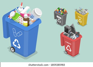 3D Isometric Flat Vector Concept of Sorting Waste for Recycling, Colored Waste Bins With Trash, Different Types of Garbage: Medicine, Metal, E-waste, Batteries.