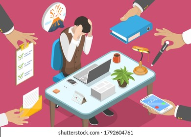 3D Isometric Flat Vector Conceptual Illustration of Exhausted and Stressed Office Woker, Overworked and Tired Businessman, Bored Paper Work, Project Deadline.