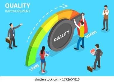 3D Isometric Flat Vector Conceptual Illustration of Quality Management and Improvement, QI.