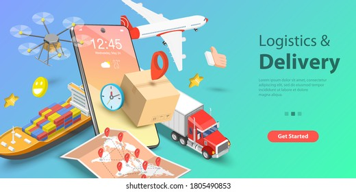 3D Isometric Flat Vector Conceptual Illustration of Smart Logistics and Transportation, Mobile App for Delivery Tracking, Cargo Fast Delivery.