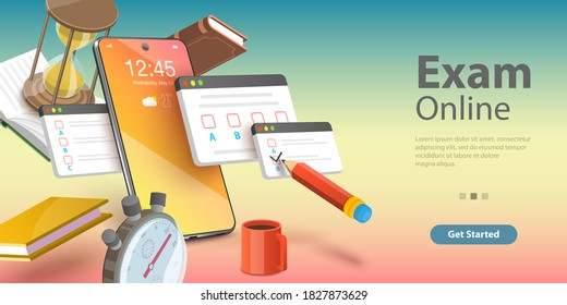 3D Isometric Flat Vector Conceptual Illustration of Online Exam, Internet Quiz or Survey, Distant Education, Questionnaire Form.