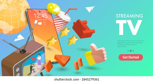 3D Isometric Flat Vector Conceptual Illustration of Mobile Streaming TV, Online Entertainment Service. - Shutterstock ID 1845279361