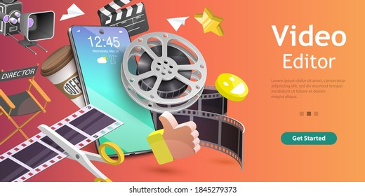 3D Isometric Flat Vector Conceptual Illustration of Mobile Video Editing App, Motion Design Studio Software, Multimedia Production.
