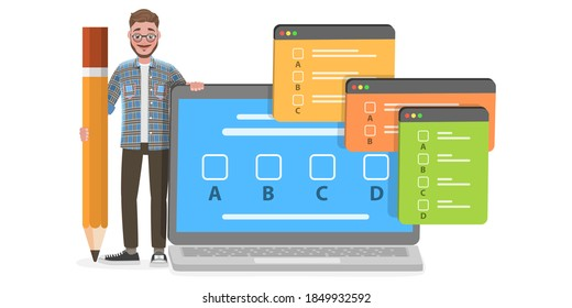 3D Isometric Flat Vector Conceptual Illustration of Online Exam, Questionnaire Form, Internet Quiz or Survey, Distant Education.