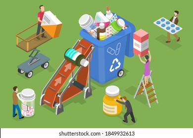 3D Isometric Flat Vector Conceptual Illustration of Expired and Unused Drugs Disposal.