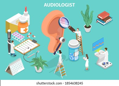 3D Isometric Flat Vector Conceptual Illustration of Audiology, Deafness and Hearing Loss Treatment.
