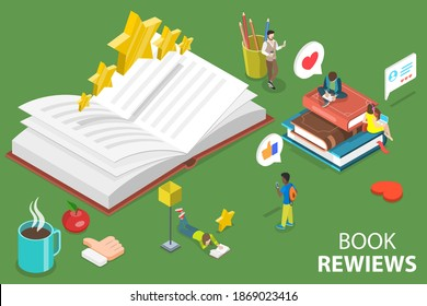 3D Isometric Flat Vector Conceptual Illustration of Literature Reviews, Book Readers Feedback.